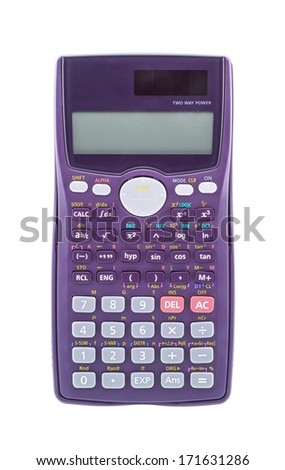 Purple scientific calculator isolated on white background - stock photo