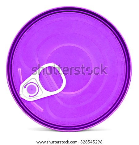 Purple shiny top of food can with pull-ring, isolated - stock photo