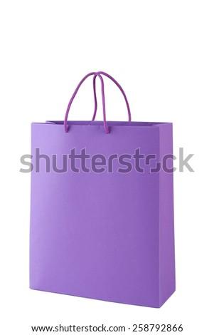 Purple shopping bag isolated on white - stock photo
