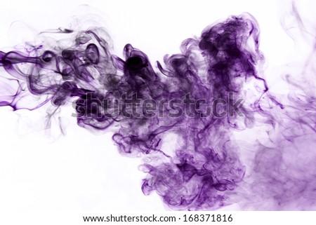 Purple smoke on a white background. - stock photo