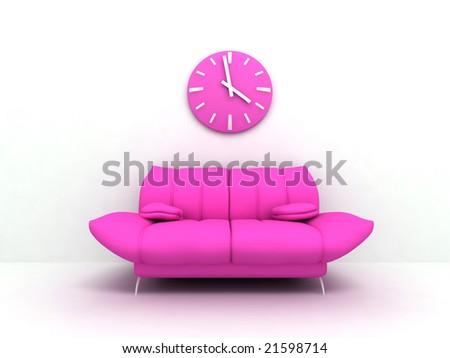 Purple sofa and clock in modern interior of a light living room - stock photo
