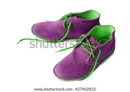 Purple suede shoes leather A shoestring green A suede classic style luxury Casual suede shoes on white background - stock photo