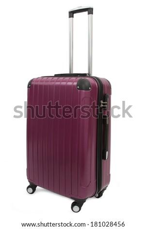 purple suitcase isolated on white background  - stock photo