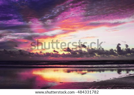 purple sunrise over ocean