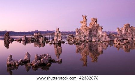 Purple Sunset over Mono Lake Tufa - stock photo