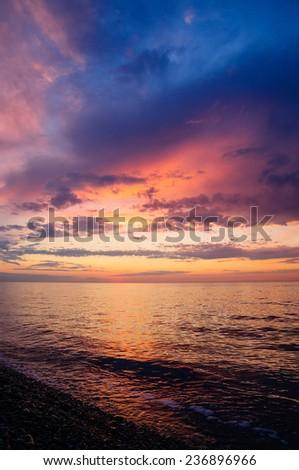 Purple sunset over the Black Sea - stock photo