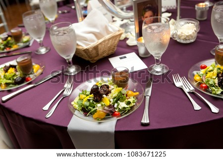 Purple Table Settings with Salads & Purple Table Settings Salads Stock Photo (Safe to Use) 1083671225 ...