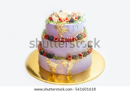 Purple Three Tiered Wedding Rustic Cake With Berries And Figs