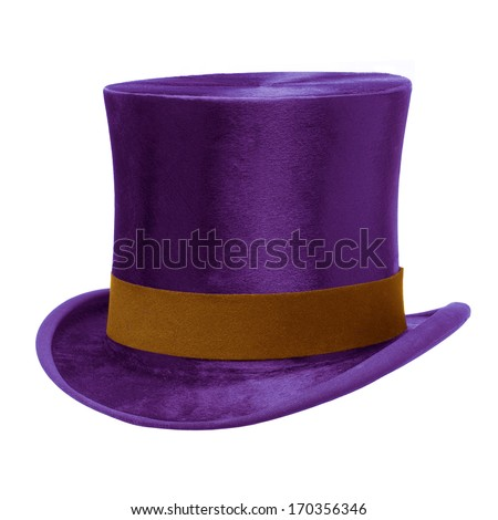 Purple Top Hat with brown band, isolated against white background - stock photo