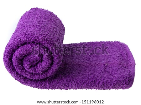 purple towel isolated on white background