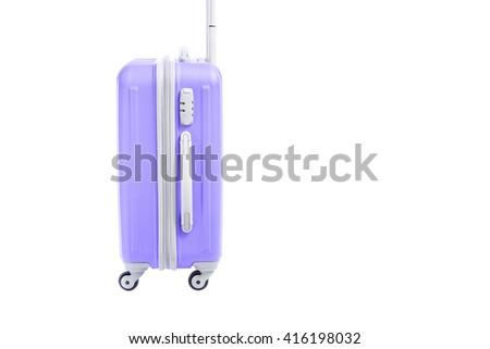 purple travel bag isolated on white background - stock photo