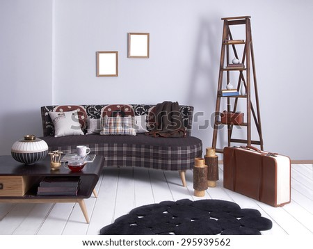 purple wall vintage interior suitcase and stairs - stock photo