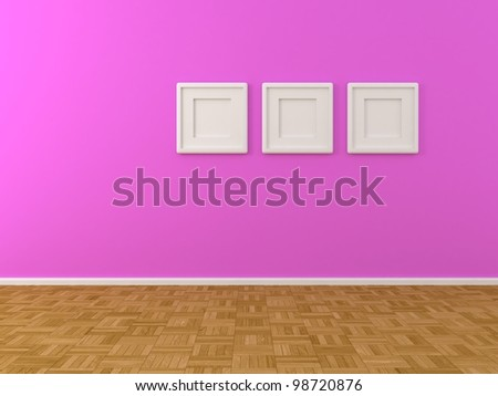 purple wall with three white frames - stock photo