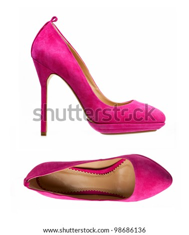 Purple women shoes isolated over white, side view and view from above - stock photo