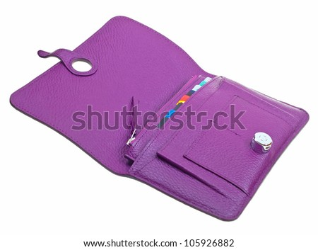 Purple womens leather open wallet isolated on white background