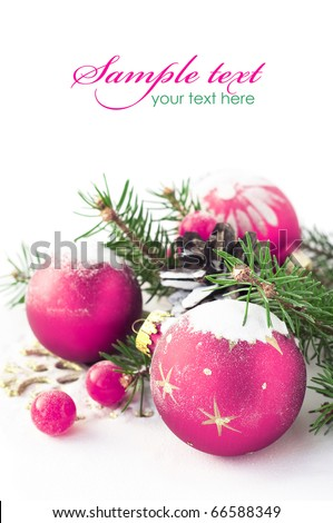 Purple xmas baubles on the white - stock photo