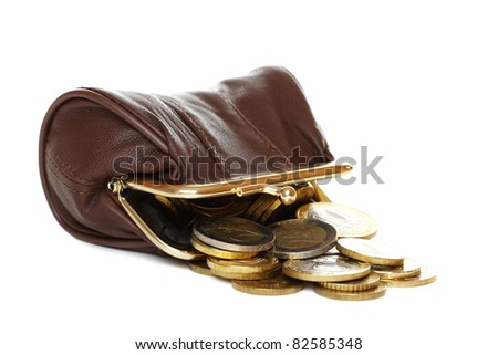Purse and coins isolated on white background.