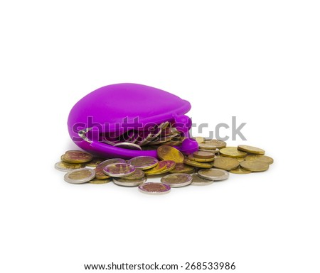 Purse and coins on white background - stock photo