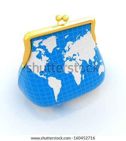 Purse Earth. On-line concept on a white background - stock photo
