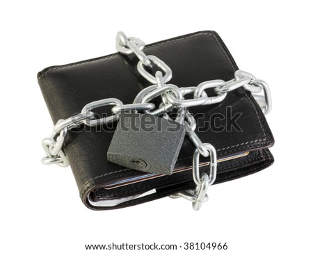 purse locked coiled chain isolated on white - stock photo