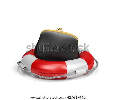 Purse on lifebuoy, the concept of insurance. 3d image. White background.