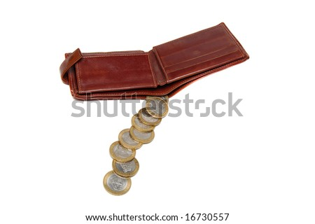 Purse with coins isolated on a white
