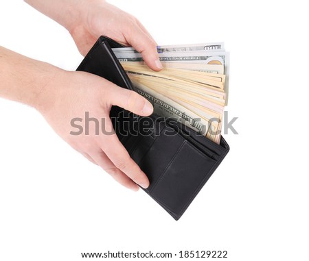 Purse with dollar bills in hands. Isolated on a white background.