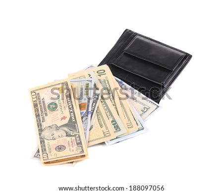 Purse with dollar bills. Isolated on a white background. - stock photo