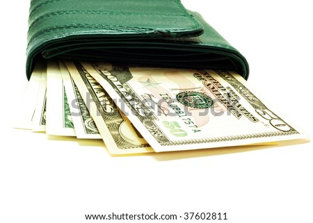 Purse with dollar on a white background - stock photo