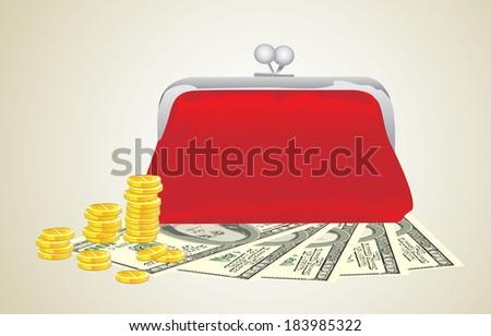 Purse with money - stock photo