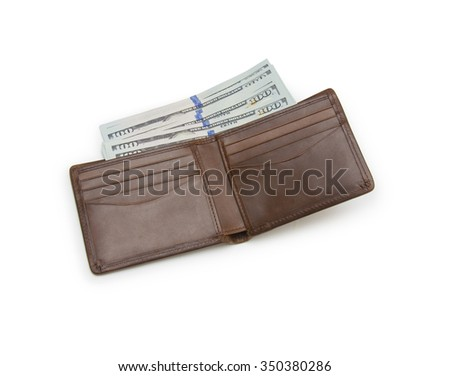 purse with money isolated on white