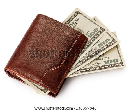 Purse with money isolated on white background - stock photo