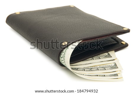 Purse with money on white background - stock photo