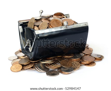 Purse with Russian coins on a white background