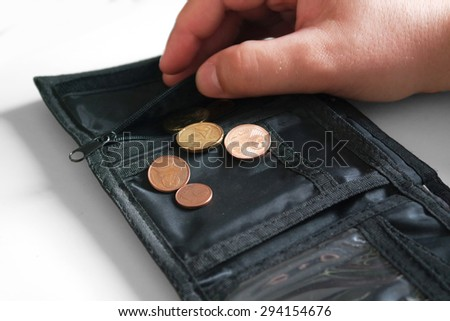 purse with small change - stock photo