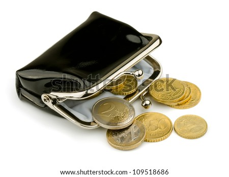 Purse with some euros coins isolated on white - stock photo