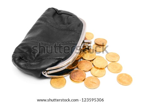 Purses and gold coins. On a white background. - stock photo