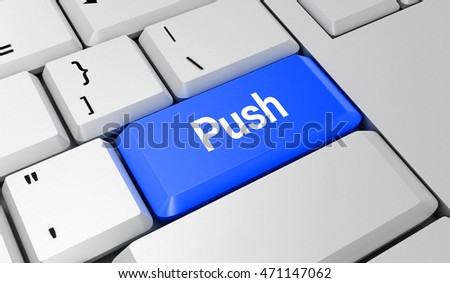 Push button. Keyboard. Blue key. Blue button. 3D rendering