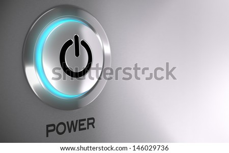 Push button with blue light and depth of field effect - 3D render concept image suitable for power energy button with copy space on the right side  - stock photo