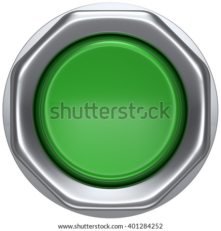 Push down button green indicator activate ignition detector lamp start turn on off action power switch electric design element led metallic shiny blank. 3d render isolated - stock photo