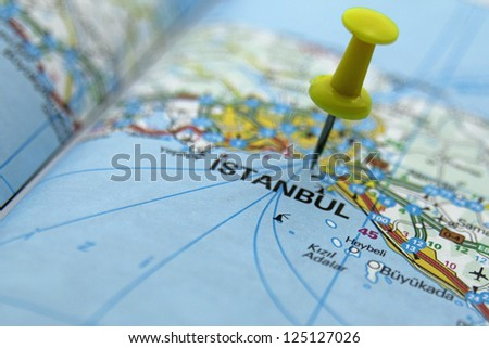 Push pin pointing at Istanbul, Turkey - stock photo