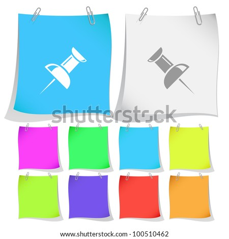 Push pin. Raster note papers. Vector version is in portfolio. - stock photo