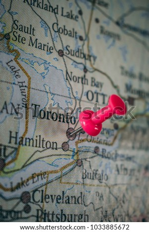 Push pin world map travel destinations stock photo 100 legal push pin world map to travel destinations pin point toronto canada gumiabroncs Images
