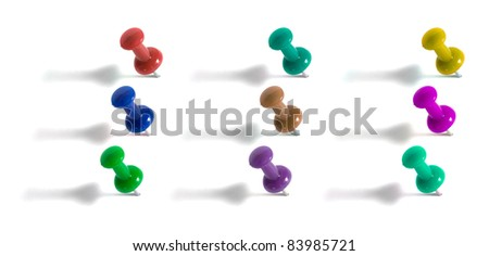 push pins isolated on white background