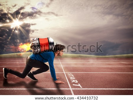 Push to overcome obstacles - stock photo