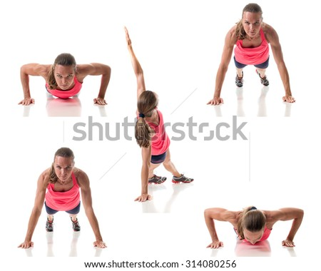 Push-up exercise variation. Studio shot over white. - stock photo
