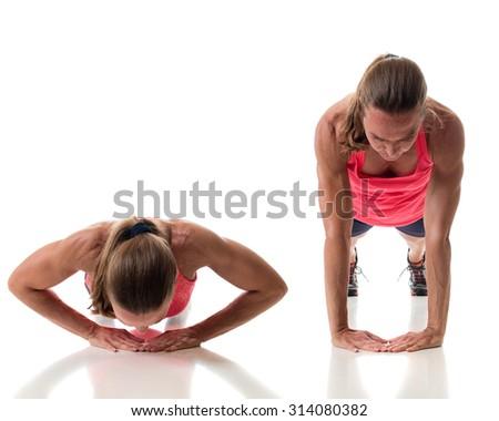 Push-up exercise variation. Studio shot over white. - stock photo