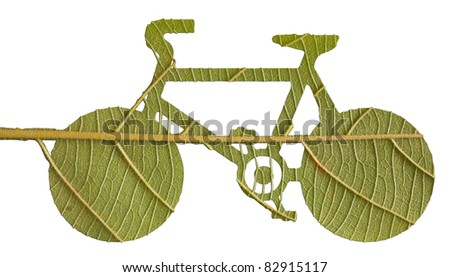 Pushbike from green leave, eco concept - stock photo