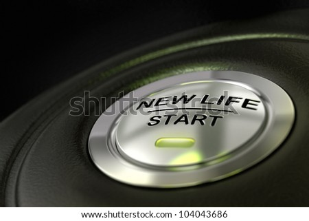 pushed new life start button over black background, blue light, changing of life concept