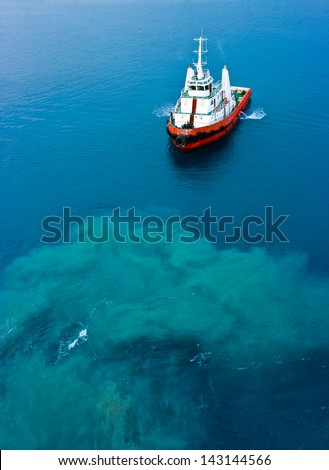Pusher tug - stock photo